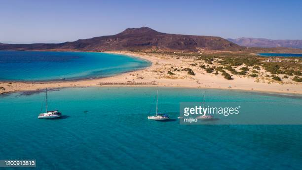 elafonisi beach on south peloponnese - aegean sea stock pictures, royalty-free photos & images