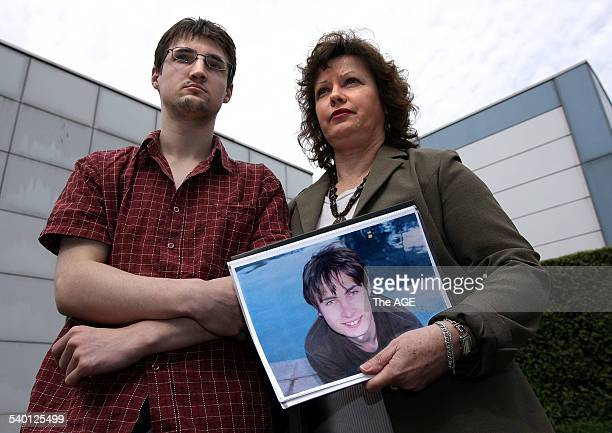 Elain Harrington with son John outside the Coroners court after an investigation into her other son Marks pictured death at the Bendigo hospital 24TH...
