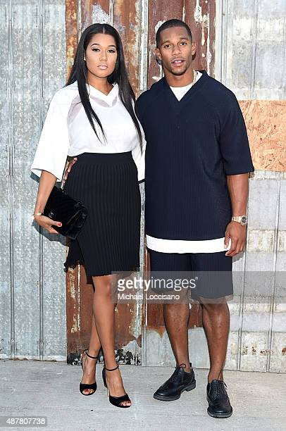 Elaina Watley and Victor Cruz attend the Givenchy fashion show during Spring 2016 New York Fashion Week at Pier 26 at Hudson River Park on September...