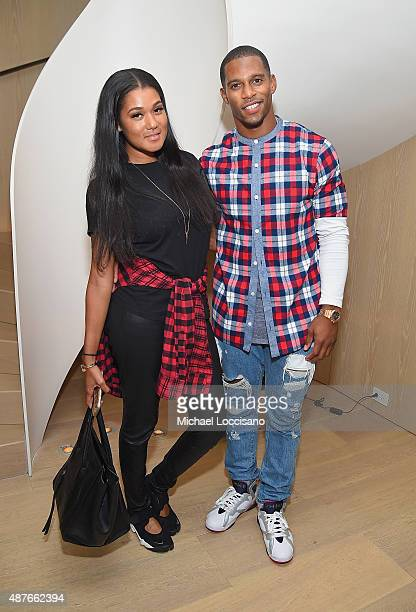 Elaina Watley and Victor Cruz attend the Rihanna Party at The New York Edition on September 10 2015 in New York City