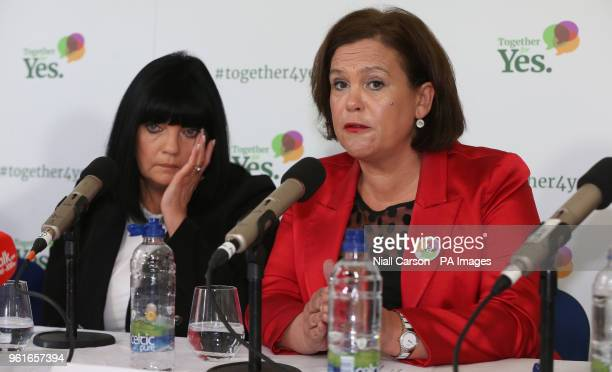 Elaine Bedford and Mary Lou McDonald speaking about abortion pills at a Together For Yes press conference in Dublin in Dublin ahead of the referendum...