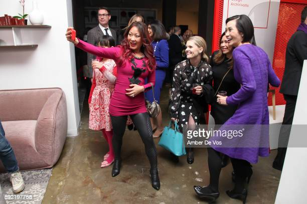 Elaine Chang Kristen Bitterly and Ida Liu attend Niki Shaokao Cheng's Annual Holiday Party at Calligaris SoHo on December 13 2017 in New York City