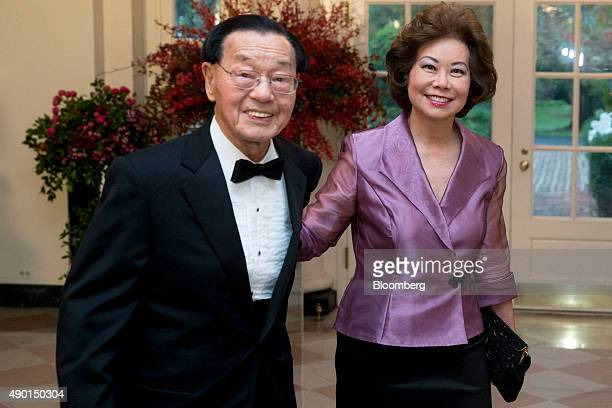 Elaine Chao former US Secretary of Labor right and her father James Chao arrive at a state dinner in honor of Chinese President Xi Jinping at the...