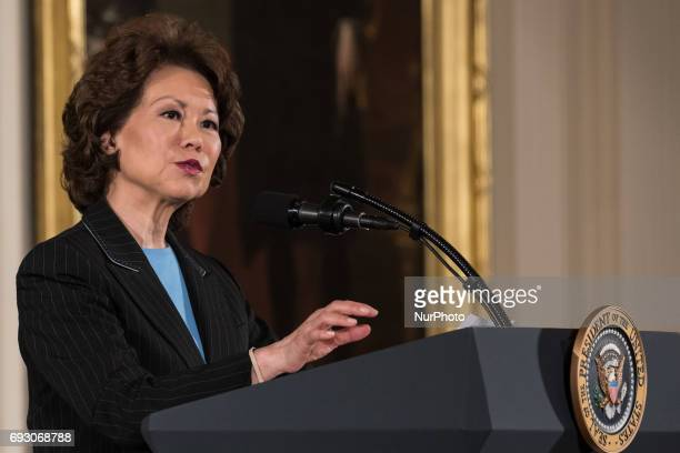 Elaine Chao Secretary of the Department of Transportation speaks at President Donald Trump's event announcing the Air Traffic Control Reform...