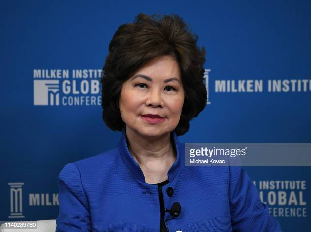 Elaine Chao Secretary US Department of Transportation participates in a panel discussion during the annual Milken Institute Global Conference at The...