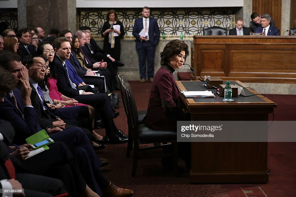 Elaine Chao testifies during her confirmation hearing to be the next U.S. secretary of transportation before the Senate Commerce, Science and Transportation Committee in the Dirksen Senate Office Building on Capitol Hill January 11, 2017 in Washington, DC. Chao, who has previously served as secretary of the Labor Department, was nominated by President-elect Donald Trump.