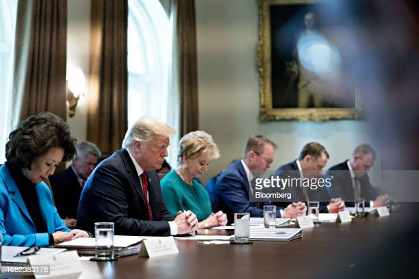 Elaine Chao US secretary of transportation from left US President Donald Trump Linda McMahon administrator of the Small Business Administration Mick...