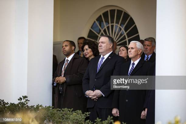 Elaine Chao US secretary of transportation from second left Mike Pompeo US secretary of state Sarah Huckabee Sanders White House press secretary US...