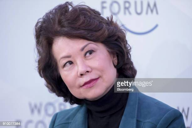 Elaine Chao US transportation secretary looks on during a panel session on day three of the World Economic Forum in Davos Switzerland on Thursday Jan...
