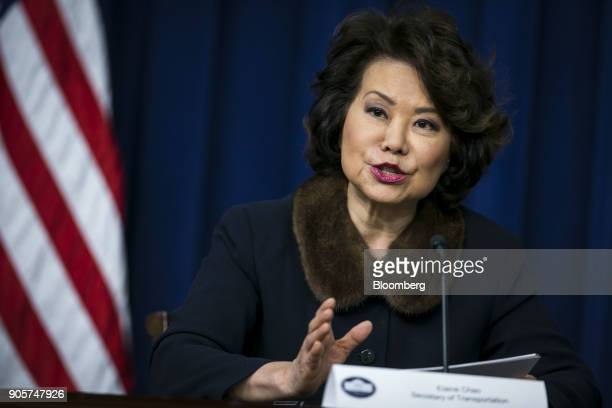 Elaine Chao US transportation secretary speaks during a 'Conversations with the Women of America' event at the Eisenhower Executive Office Building...