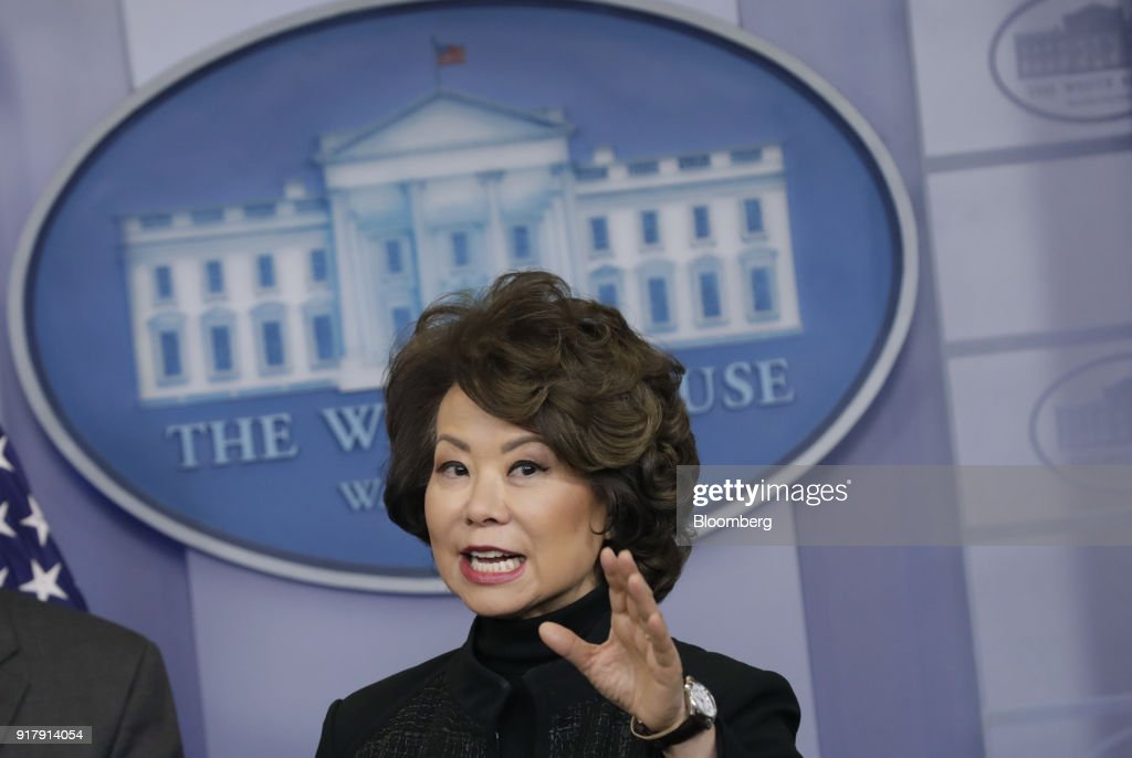 Elaine Chao, U.S. transportation secretary, speaks during a White House press briefing in Washington, D.C., U.S., on Tuesday, Feb. 13, 2018. Chao said the gas tax is an option but not 'ideal.' Photographer: Yuri Gripas/Bloomberg via Getty Images
