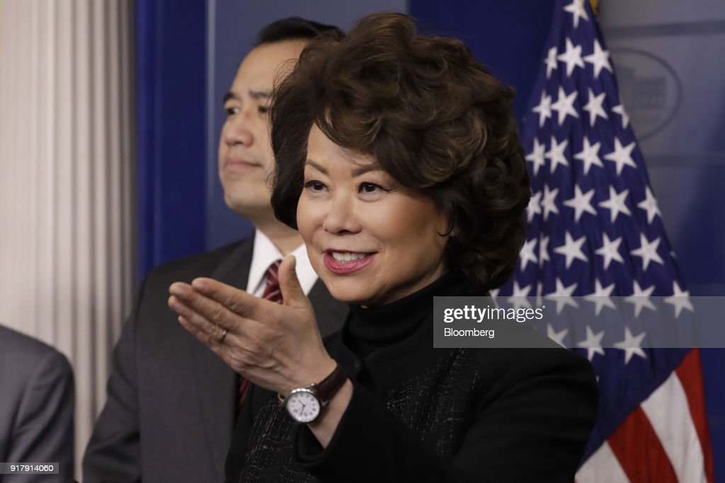 Elaine Chao, U.S. transportation secretary, takes a question during a White House press briefing in Washington, D.C., U.S., on Tuesday, Feb. 13, 2018. Chao said the gas tax is an option but not 'ideal.' Photographer: Yuri Gripas/Bloomberg via Getty Images