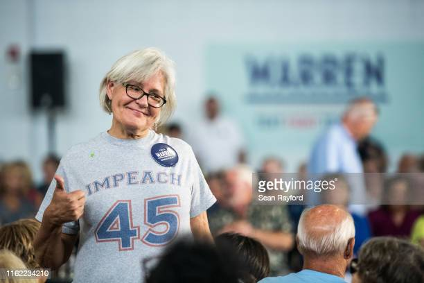 Elaine Cooper poses for a photo before before a town hall event with Democratic presidential candidate Sen Elizabeth Warren on August 17 2019 in...