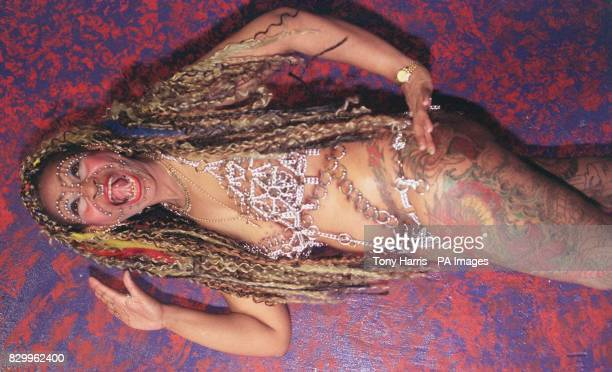 Elaine Davidson from Glasgow one of the visitors to Bodyshow '97 in London today The international show explores all aspects of body adornment...