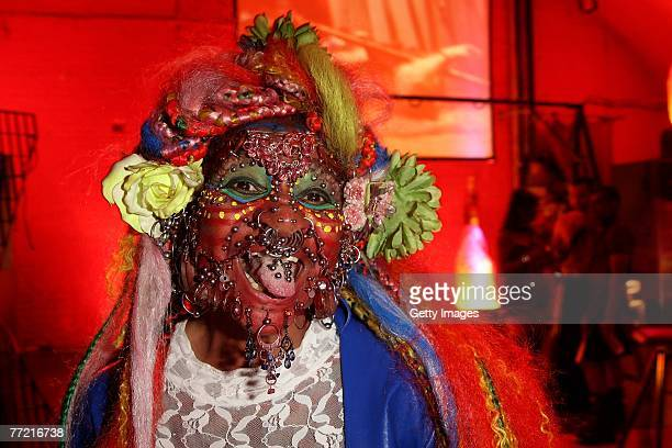 Elaine Davidson record holder as the most pierced woman attends the Skin Two Rubber Ball at SeOne on October 6 2007 in London England The 16th annual...