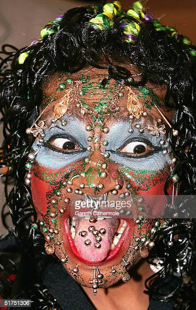 Elaine Davidson the most pierced woman attends the Guinness World Records 50th Anniversary Party at the Royal Opera House on November 16 2004 in...