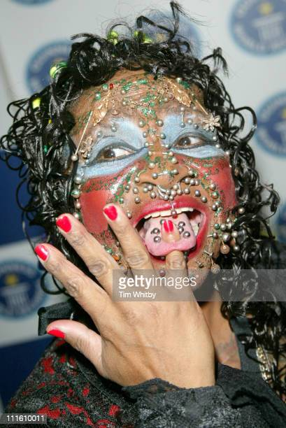 Elaine Davidson the most pierced woman during 50th Anniversary Party for the Guinness Book of World Records at The Royal Opera House in London Great...