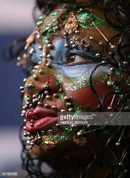 Elaine Davidson the most pierced woman in the world shows off some of her 2520 piercings at the 50th anniversary of the Guiness World Records in...
