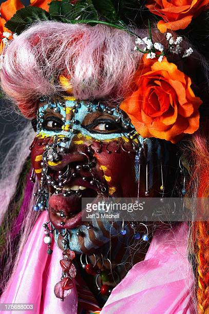 Elaine Davidson the 'Most Pierced Woman' poses stating if she was not at the Edinburgh Fringe Festival she would be doing television show travelling...