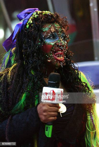 Elaine Davidson the world's most pierced woman during her guest appearance on MTV's TRL Total Request Live show at their new studios in Leicester...
