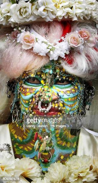 Elaine Davidson who holds the record for World's Most Pierced Woman with 6925 piercings outside Edinburgh Registry Office following her wedding to an...