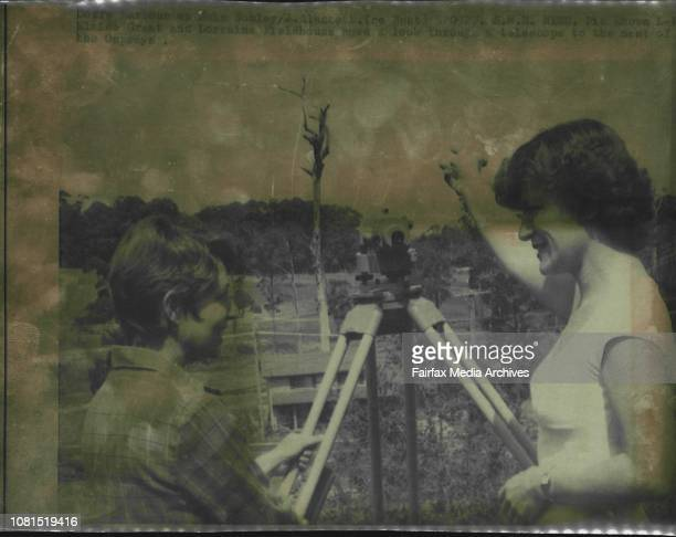 LR Elaine Grant and Lorraine Fieldhouse have a look through a telescope to the nest of the Ospreys September 27 1982