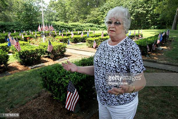 Elaine Harte reacts at the Veteran's Lot in Mt Vernon Cemetery where grave markers have been stolen She noticed them missing last Thursday