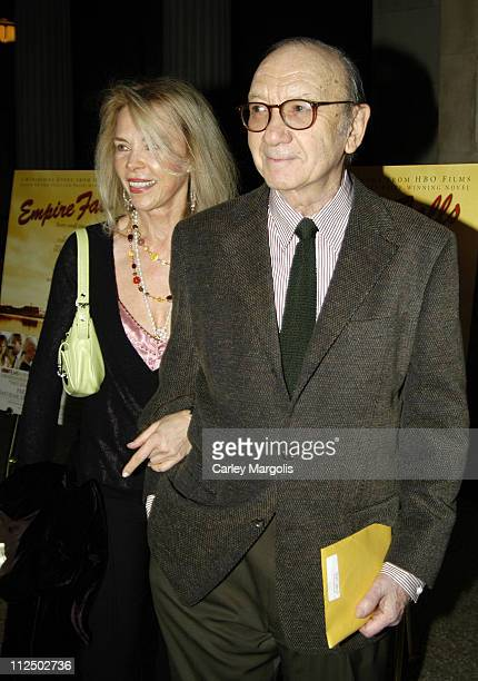 Elaine Joyce and Neil Simon during HBO Films Empire Falls New York Premiere at The Metropolitan Museum of Art in New York City New York United States