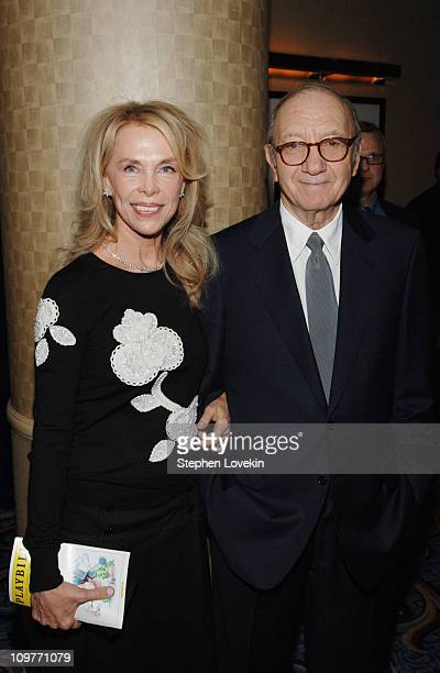 Elaine Joyce and Neil Simon during Neil Simon's The Odd Couple Broadway Opening Night After Party at Marriott Marquis in New York City New York...