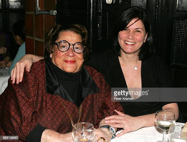 Elaine Kaufman and actress Linda Fiorentino attend a dinner for the screening of 'Thank You For Not Smoking' at Elaine's on February 22 2006 in New...