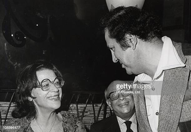 Elaine Kaufman guest and Ron Galella during 'Murder at Elaine's' Book Party at Elaine's Restaurant in New York City New York United States