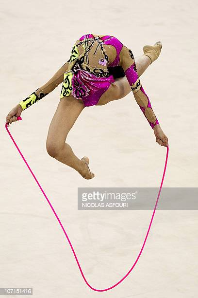 Elaine Koon of Malaysia performs during the rhythmic gymnastics individual allaround final during the 16th Asian Games on November 26 2010 Anna...