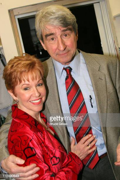 Elaine Orbach and Sam Waterston during Jerry Orbach Memorial Celebration at The Richard Rogers Theater in New York City New York United States