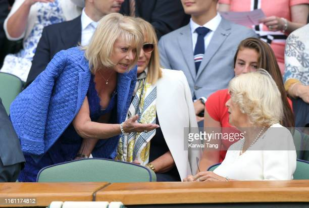 Elaine Paige and Camilla Duchess of Cornwall attend day nine of the Wimbledon Tennis Championships at All England Lawn Tennis and Croquet Club on...
