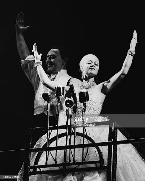 Elaine Paige as Eva Peron and Joss Ackland as her husband Juan in a scene from Andrew Lloyd Webber and Tim Rice's musical Evita