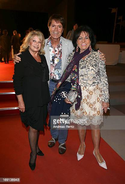 Elaine Paige Cliff Richard and Regine Sixt attend the German Films reception during the 66th Annual Cannes Film Festival at the Majestic Beach on May...