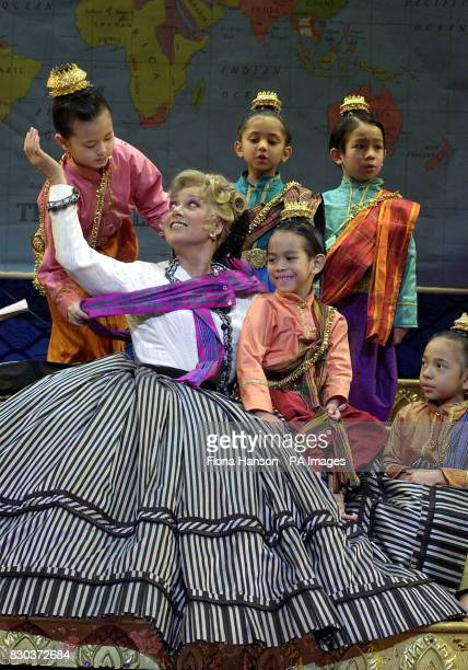 Elaine Paige on stage with child cast members during a rehearsal for 'The King And I' which is currently previewing at the London Palladium Argyll...