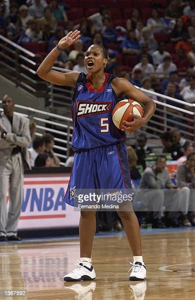 Elaine Powell of the Detroit Shock calls a play during the game against the Orlando Miracle on August 11 2002 at TD Waterhouse Centre in Orlando...