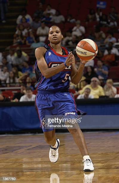 Elaine Powell of the Detroit Shock looks to pass against the Orlando Miracle during the game on August 11 2002 at TD Waterhouse Centre in Orlando...