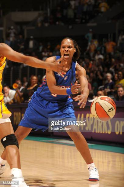 Elaine Powell of the Detroit Shock makes a pass against the Los Angeles Sparks at Staples Center on June 11 2008 in Los Angeles California NOTE TO...