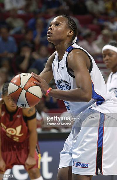 Elaine Powell of the Orlando Miracle prepares to shoot in the game against the Miami Sol on June 15 2002 at TD Waterhouse Centre in Orlando Florida...
