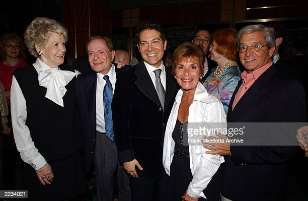 Elaine Strich Jerry Herman Michael Feinstein and Judge Judy at a reception following Feinsteins performance at Carnegie Hall opening the 2002 New...