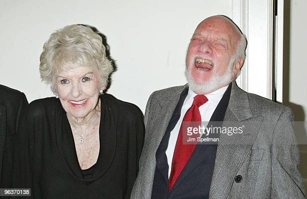 Elaine Stritch and Harold Prince attend the final night of 'At Home At The Carlyle Elaine Stritch Singin' SondheimOne Song At A Time' at the Cafe...