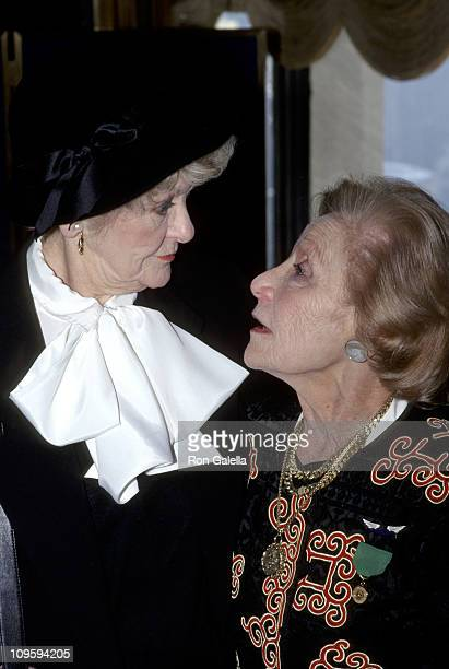 Elaine Stritch and Isabelle Stevenson during American Theater Wing Awards at Rainbow Room in New York City New York United States