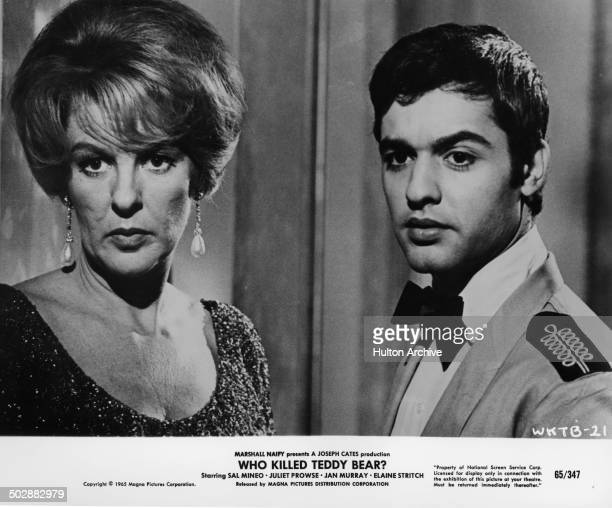 Elaine Stritch and Sal Mineo look on in a scene in the movie 'Who Killed Teddy Bear' circa 1965