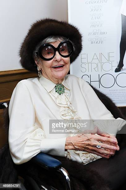 Elaine Stritch attends the 'Elaine Stritch Shoot Me' preview event at Crosby Street Hotel on February 16 2014 in New York City