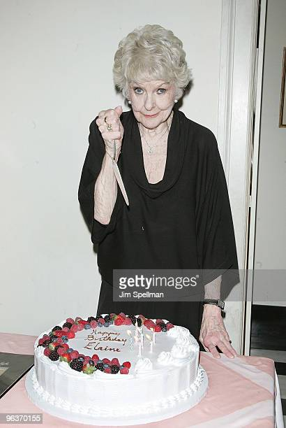 Elaine Stritch attends the final night of At Home At The Carlyle Elaine Stritch Singin' SondheimOne Song At A Time at the Cafe Carlyle on February 2...