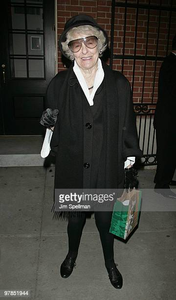 Elaine Stritch attends the opening night of All About Me on Broadway at Henry Miller's Theatre on March 18 2010 in New York City