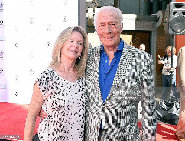 Elaine Taylor and honoree Christopher Plummer attend the Christopher Plummer Hand and Footprint Ceremony during the 2015 TCM Classic Film Festival on...