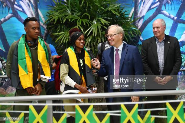 Elaine Thompson and Julian Forte and the Jamaican 2018 Commonwealth Games team are welcomed by Chairman Peter Beattie and CEO Mark Peters at the Gold...
